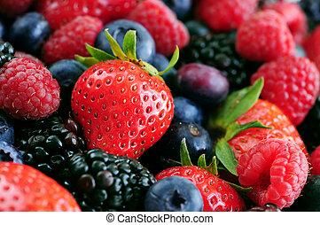 frisk, berries, sorteret