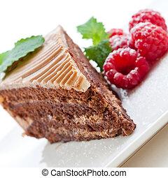 frisk, choklad bakelse, med, hallon