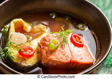 frisk fisk, soppa, gjord, av, lax, och, forell