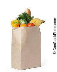 frisk, frisk mat, in, en tidning, väska