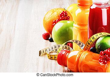 frisk frugt, safter, ind, sunde, ernæring, sæt