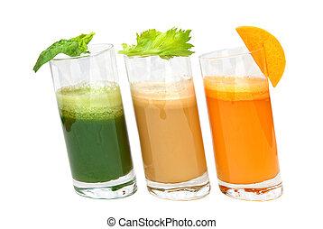 frisk, fruktsaftar, från, morot, selleri, och, persilja, in,...