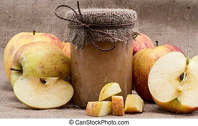 frisk, gjord, applesauce, med, äpplen