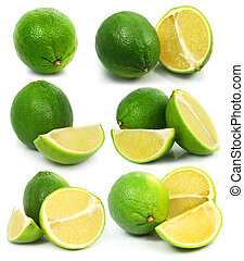 frisk, grön, lime, frukter, isolerat, frisk mat