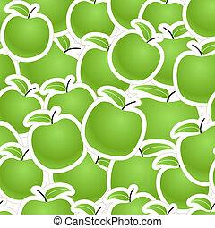 frisk, gröna äpplen, bakgrund, seamless