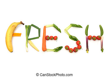 frisk, grönsaken, frukter