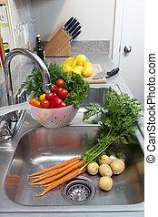 frisk, grönsaken, sänka