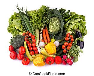 frisk, grönsaken, topp, synhåll