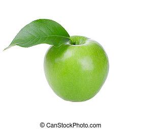 frisk, grönt äpple, med, blad