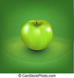 frisk, grönt äpple
