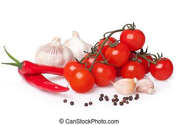 frisk grønsag, (bunch, i, frisk kirsebær, tomat, hvidløg,...