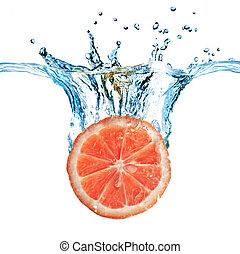 frisk, grapefrukt, droppat, in i, vatten, med, bubblar,...