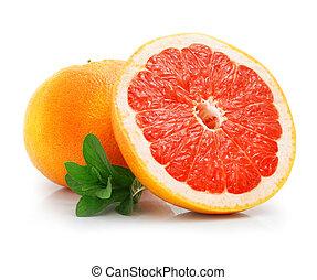 frisk, grapefrukt, frukt, med, snitt, och, grönt lämnar