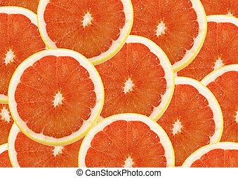 frisk, grapefrukt, och, andelar, bakgrund