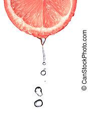 frisk, grapefrukt, skiva, med, vatten gnuttar, isolerat,...