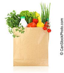 frisk, hälsosam, specerier, in, en tidning, väska