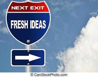 frisk, ideer, vej underskriv