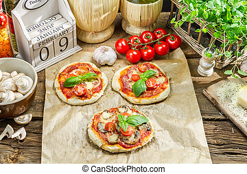 frisk, ingredienser, by, en, mini, pizza