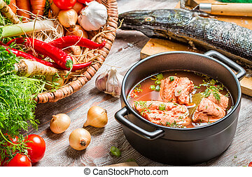frisk, ingredienser, för, fish, soppa