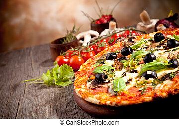 frisk, italiensk, pizza