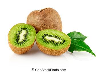 frisk, kiwi, med, snitt, och, grönt lämnar