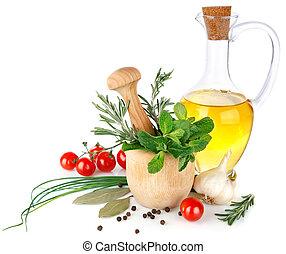 frisk, kryddor, med, grönsaken, och, olivolja