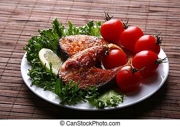 frisk laks, garnere, hos, salat
