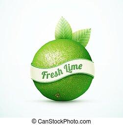 frisk, lime, frukt, med, grönt lämnar
