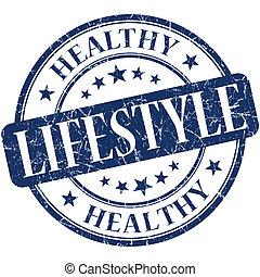 frisk livsstil, blå, runda, grungy, årgång, gummi stämpla