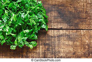 frisk, lockig, blad, persilja, på, rustin, trä, bakgrund