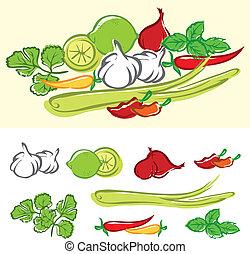 frisk, madlavning ingredienser