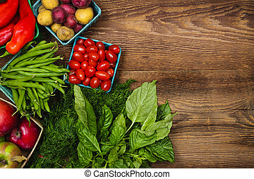frisk, marked, frugter grønsager