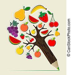 frisk mat, begrepp, träd, blyertspenna