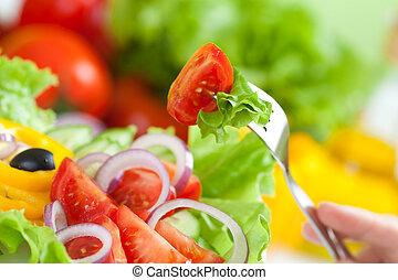 frisk mat, färsk grönsak, sallad, och, gaffel