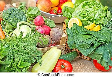 frisk mat, -, frisk, organisk, grönsaken