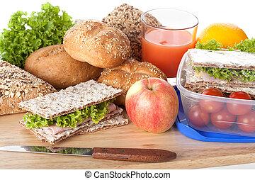 frisk, og, velsmagende, frokost