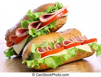 frisk, og, velsmagende, sandwich