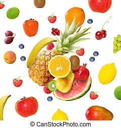 frisk, olika, frukter