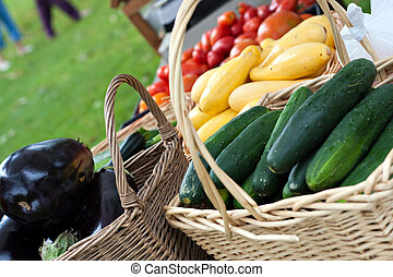 frisk, organisk, bönder marknadsför, grönsaken