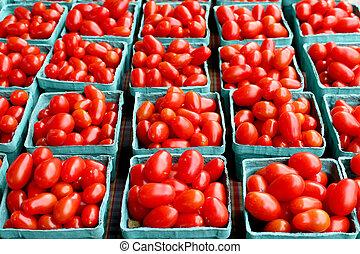 frisk, organisk, körsbär tomater, bakgrund, foto, tagen,...