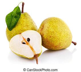 frisk, päron, frukter, med, snitt, och, grönt lämnar