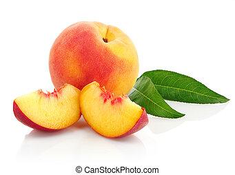 frisk, persika, frukter, med, grönt lämnar