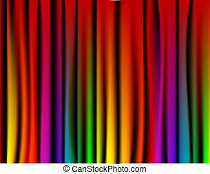 frisk, regnbue, gardin