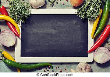 frisk, skiffer, grönsaken, bord