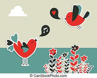 frisk, social, media, fåglar, kommunikation