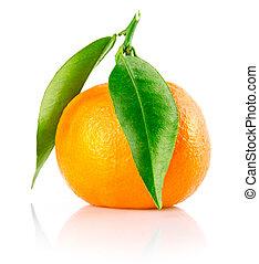 frisk, tangerine, frukt, med, grönt lämnar, isolerat