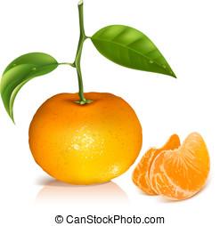 frisk, tangerine, frukter, med, grön, leaves.