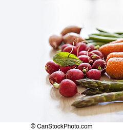 frisk, trädgård, grönsaken