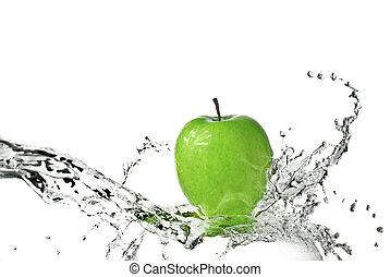 frisk vand, plaske, på, grønt æble, isoleret, på hvide
