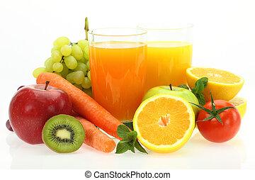 friske frugter, grønsager, og, saft